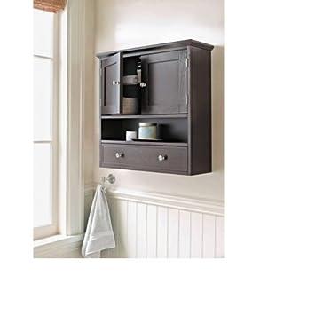 Threshold Bathroom Bridewater Luxury Wall Cabinet Espresso Medicine Double Doors Furniture Shelves Elegant Storage Wood Vanity