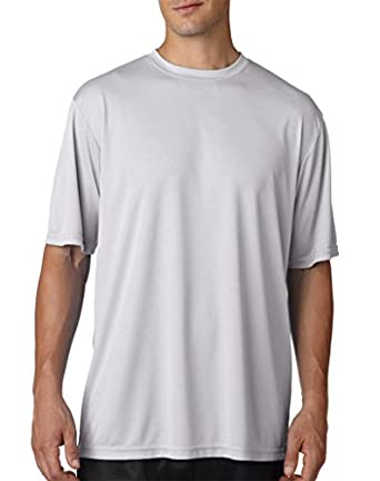 A4 Mens Cooling Performance Crew T-Shirts Small Silver