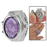 Lady Stretch Band Flower Inlay Hunter Case Finger Ring Quartz Watch