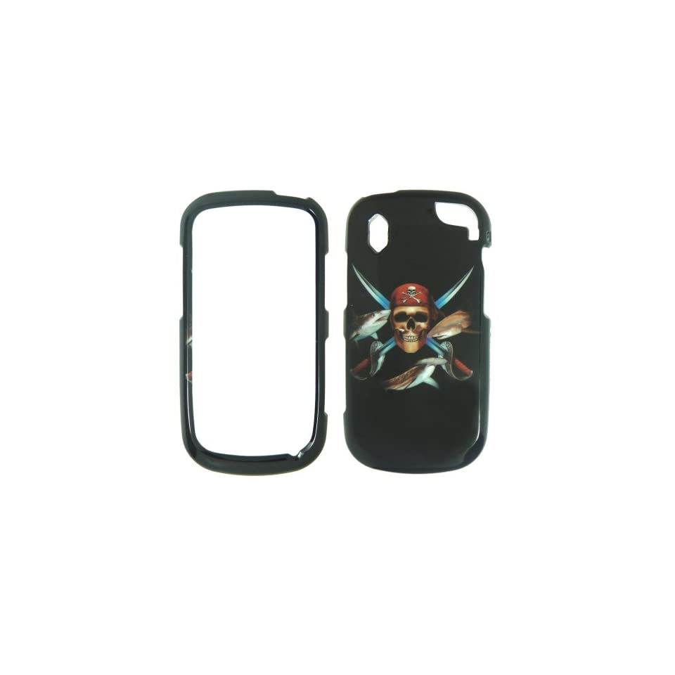 Pantech Hotshot 8992   Verizon Pirate Skull Swords and Fish on Black Shinny Gloss Finish Hard Plastic Cover, Case, Easy Snap On, Faceplate.