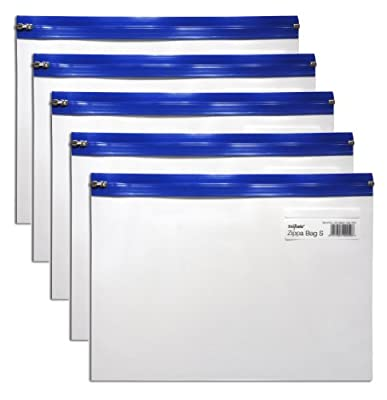 Snopake Zippa Bag Zipperbeutel A4 325x235mm 5 Stück transparent / blau