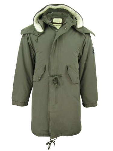 Mens Lambretta Mod/ Retro Fish Tail Parka Coat Hooded M51 Style Khaki Green [Medium]