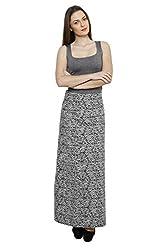 LEBE Women's Printed Cotton A Line Skirt