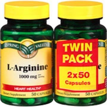 L-arginine 1000 Mg (2 Pack X 50 Capsules) by Spring Valley