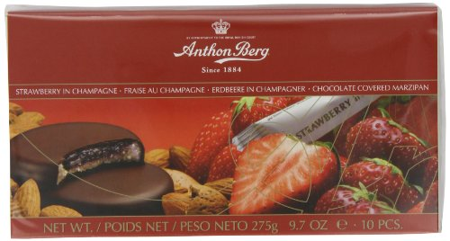 Anthon Berg Strawberry in Champagne Chocolate Covered Marzipans (Pack of 2)