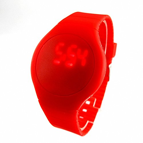 Youyoupifa Wholesale 5Pcs/Lot Round Touch Screen Red Digital Light Unisex Plastic Led Watch (Red)
