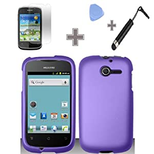 Rubberized Solid Purple Color Snap on Hard Case Skin Cover Faceplate with Screen Protector, Case Opener and Stylus Pen for Huawei Ascend Y / M866 - StraightTalk