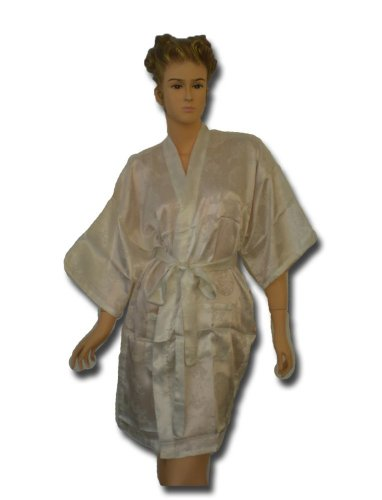 Satin Kimono Bath Robe Night Gown Geisha Flower Japan unisize for L / XL white KN12