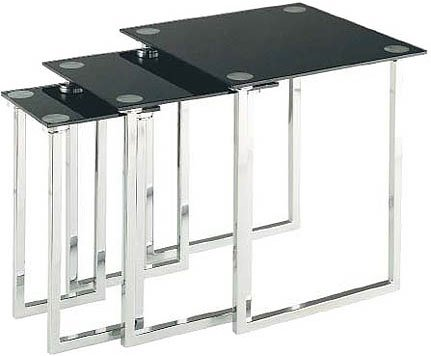 Dane Nesting Table Set Of 3pcs, Chrome/tempered Black Glass Top