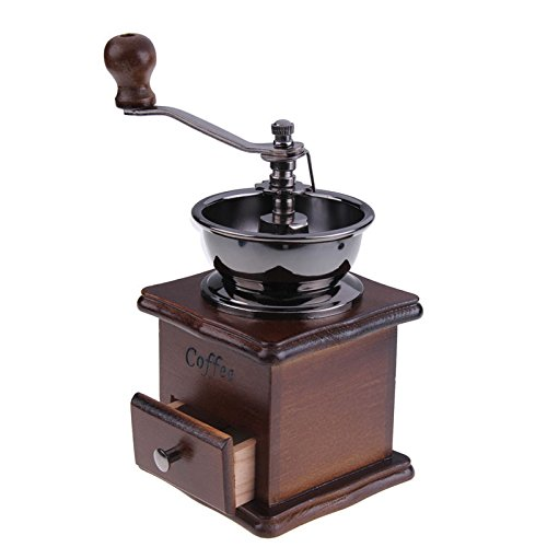 1PCS Retro Design Mini Manual Coffee Grinder Mill Wood Stand Bowl Antique Hand Coffee Bean Grinder Coffee Grinder Coffee Mill (Tamper Mr Coffee compare prices)