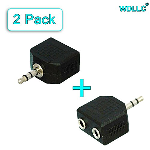 3.5mm Headphones Speakers Stereo 2 Female to Male Splitter Y Dual Jack Adapter Plug Converter (2-Pack) - WDLLC (Headphones Split compare prices)