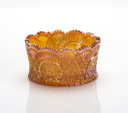 Amber Marigold Carnival Diamond Classic Nappy Centerpiece Bowl Marigold Carnival Glass