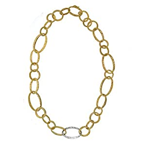 18k Two-Tone Oval Links 0.55ct Diamond Necklace - 18.5 Inch - JewelryWeb