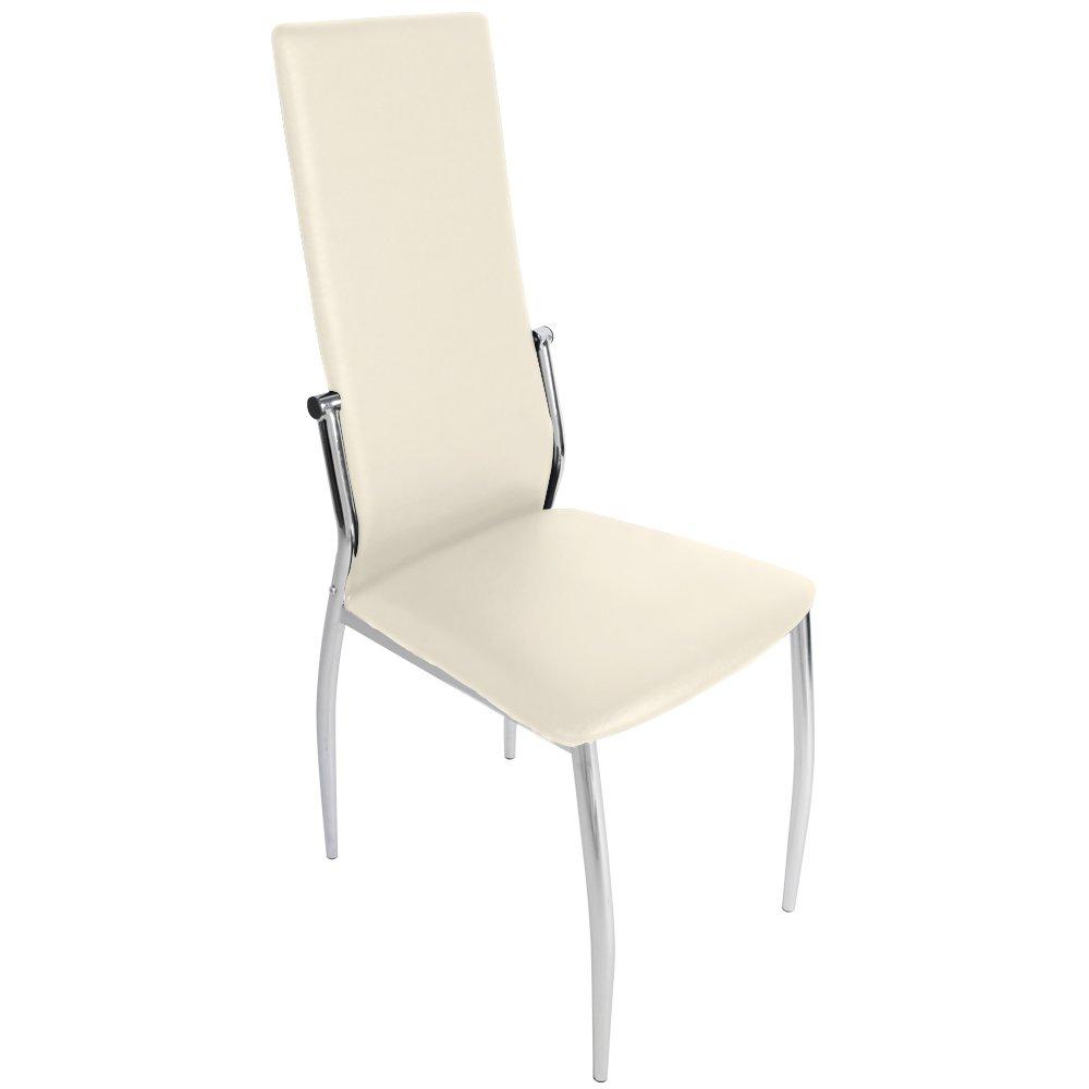 <p>Conjunto de 4 sillas forradas en cuero color crema para comedor</p>
