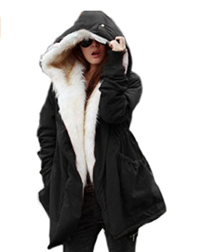 Womens Winter Warm Clothes Loose in the Long Paragraph Slim Coat Outwear (XL, black)