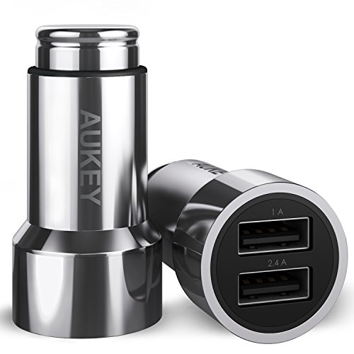 Aukey シガーチャージャー 車載充電器 小型 銅合金 USB 2ポート 2台同時充電可能 3.4A/17W AiPower機能搭載 iPhone6s / 6s Plus / 6 / 6 Plus / iPad / iPod / Android / Galaxy S6 / S6 Edgeなど対応 CC-S6