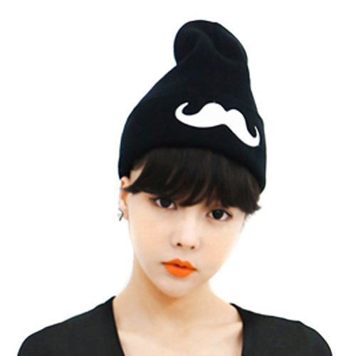 LOCOMO Women Big Moustache Knit Beanie Crochet Rib Hat Cap Warm FFH084BLK