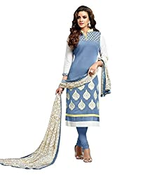 Typify Awesome Blue Embroidered Semistitched Salwar Suit