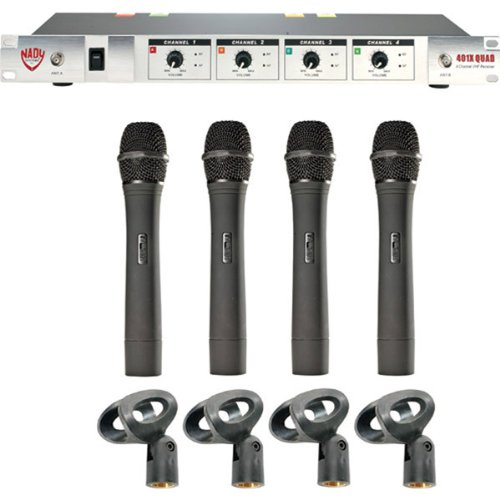 Nady Genuine 401-Quad 4-Channel Professional Vhf Wireless Hand-Held Microphone System - Frequencies A/B/D/N, 171.905Mhz, 185.15Mhz, 209.15Mhz, 197.15Mhz