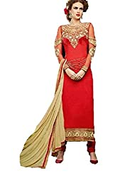 Desi Girl Fashion Store Women's Georgette Unstitched Dress Material (DGFS01_Red_Freesize)