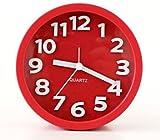 JustNile 3D Modern 5-inch Round Bedside Alarm Clock - Red