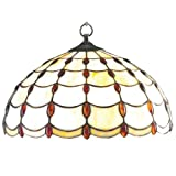Lighting Web Co 40 cm Glass Jewel Tiffany Pendant, Amber