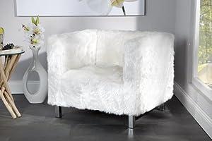 design sessel yeti mit fell weiss k che haushalt. Black Bedroom Furniture Sets. Home Design Ideas