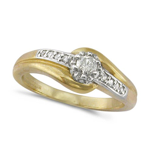 9ct Yellow Gold Ladies Solitaire Diamond Engagement Ring with Diamond Shoulde...