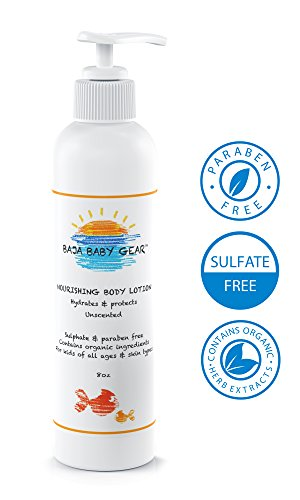 Baja Baby Unscented Lotion - Nourishing Body Lotion - Fragrance Free - 8 Fl Oz - Free of Sulphates, Parabens and Phosphates - Organic, Natural Ingredients - For Kids of All Ages and Skin Types - Moms Love It Too! (1 Bottle) - 1