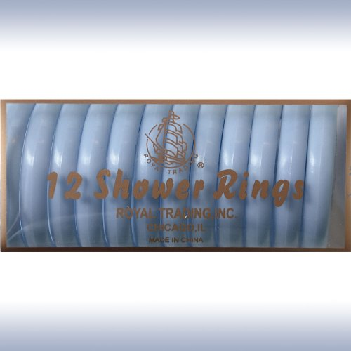BLUE 12-Piece Plastic Shower Curtain Rings. Snap-lock.