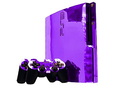 Sony PlayStation 3 Slim Skin (PS3 Slim) - NEW - PURPLE CHROME MIRROR system skins faceplate decal mod