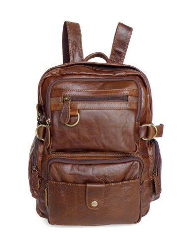 B00IPWLXII Kattee Multi Pockets Genuine Leather Backpack Shoulder Bag