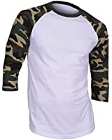Mens Men's Casual 3/4 Sleeve Baseball Tshirt Jersey Shirt