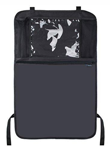 Termichy Auto Rückenlehnenschutz, Rückenlehnen-Tasche, Trittschutz mit Rücksitz-Organizer, Rücksitzschoner, Kick-Matten-Schutz für den Autositz mit durchsichtigem extra großen iPad-Tablet-Halter, Tablet-Fach, welcher vollen Schutz durch sein wasserdichtes Material bietet (1 Stück)