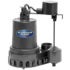 Superior Pump 92572 Thermoplastic Sump Pump with Vertical Float Switc, 1/2 HP