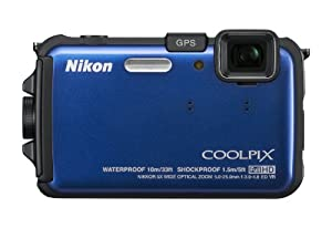 Nikon COOLPIX AW100 16 MP CMOS Waterproof Digital Camera with GPS and Full HD 1080p Video (Blue)