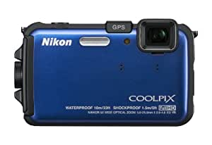 Nikon COOLPIX AW100 16 MP CMOS Waterproof Digital Camera with GPS and Full HD 1080p Video (Blue) (OLD MODEL)