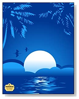 Blue Summer Night Notebook - Peaceful and tranquil is the look of the blue tropical moon setting that graces the cover of this blank and college ruled notebook with blank pages on the left and lined pages on the right.