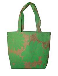 Foonty Green Print Jute Bag