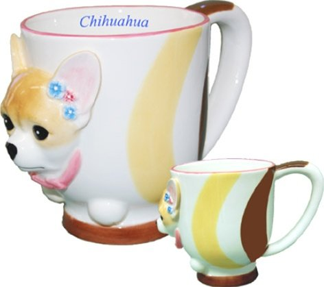 Chihuahua Collectible Dog Puppy Cup Porcelain Coffee Mug Figure Statue