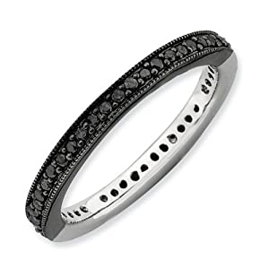 IceCarats Designer Jewelry Size 5 Sterling Silver Stackable Expressions Polished Half Black/White Dia Ring