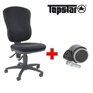 topstar drehstuhl steel point 80 schwarz mit 5 rollen f r weiche b den 5 rollen f r harte. Black Bedroom Furniture Sets. Home Design Ideas
