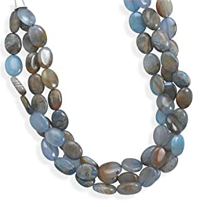 19 Inch Sterling Silver Triple Strand Oval Dyed Blue Agate Toggle Necklace Agate Is 16mm X 12mm