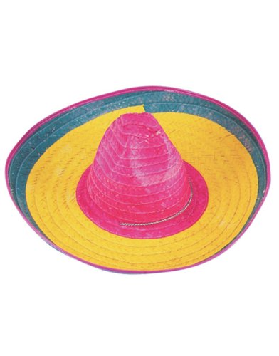 "HM Smallwares 20"" Colorful Mexican Woven Authentic Straw Sombrero Hat, Bright Neon - 1"