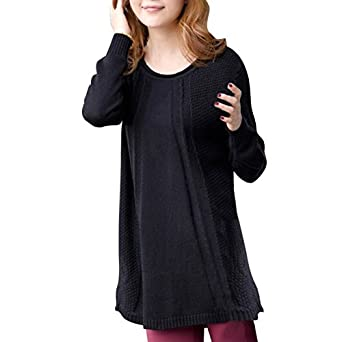 Little Hand Womens Long Sleeve Solid Lang Sweater Loose Casual Pullover Sweater Black