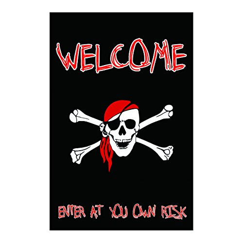 Polyester Fabric Garden Flags The Pirate Style Black And White Cool And Fashion Fade And Mildew Resistant Custom Banners Of Waterproof 28 X 40 Inch