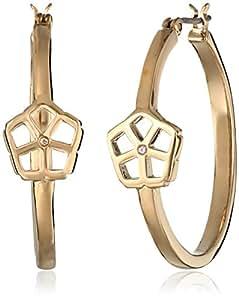 "Trina Turk ""Cubist House"" Gold Floret Frontal Hoop Earrings"