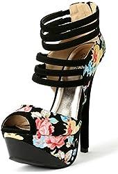 Qupid Black Floral Peep toe Platform Pump Stiletto Heel