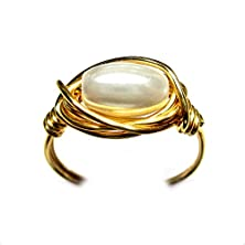 buy Elegant Czech Art Glass Pearl Solitaire Gold Wire Wrap Ring All Sizes