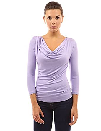 PattyBoutik Women's Cowl Neck 3/4 Sleeve Top (Lavender S)